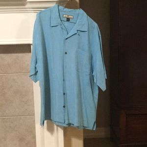 Tommy Bahama Blue Silk Short Sleeve Shirt Size L